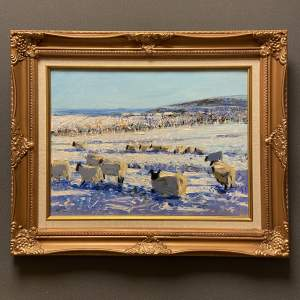 Sheep in the Snow Oil on Canvas by Mike Healey