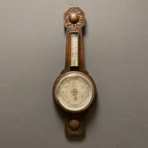 Oak Framed Aneroid Barometer