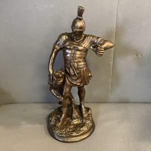 19th Century Bronze Gladiator and Lion Sculpture