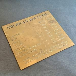 Vintage American Roulette Casino Brass Sign