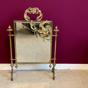 19th Century Brass Mirrored Fire Screen