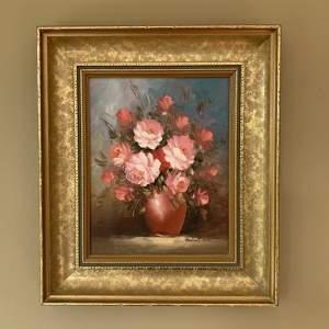 Robert Cox Vase of Flowers Oil on Board Painting