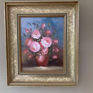 Robert Cox Vase of Flowers Oil Painting on Board