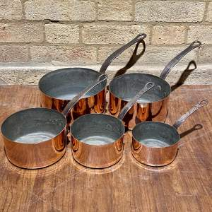 Set of Five French Copper Pans