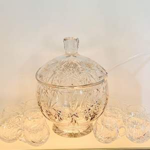 Large Crystal Cut Glass Punch Bowl and Glasses