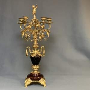 19th Century Gilt Brass Five Arm Candelabra