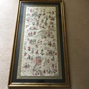 Large Early 20th Century Oriental Silk Picture of Children Playing