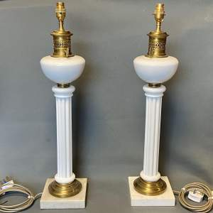 Pair of 20th Century White Glass and Brass Plated Lamps