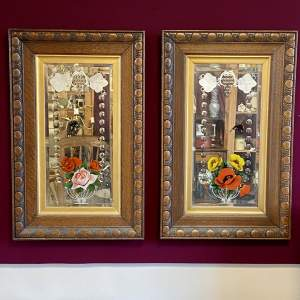 Pair of Ornate Framed Painted Mirrors