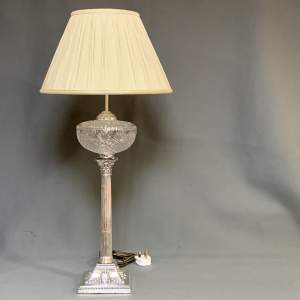 19th Century Silver Plated Electric Table Lamp