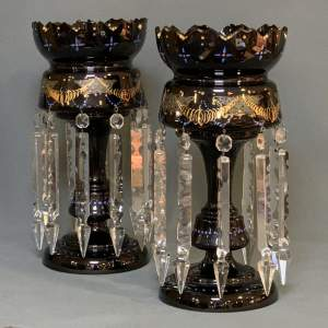 Pair of Victorian Black Glass Lustres