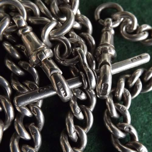 Antique George V 1915 Silver Double Albert Watch Chain image-2