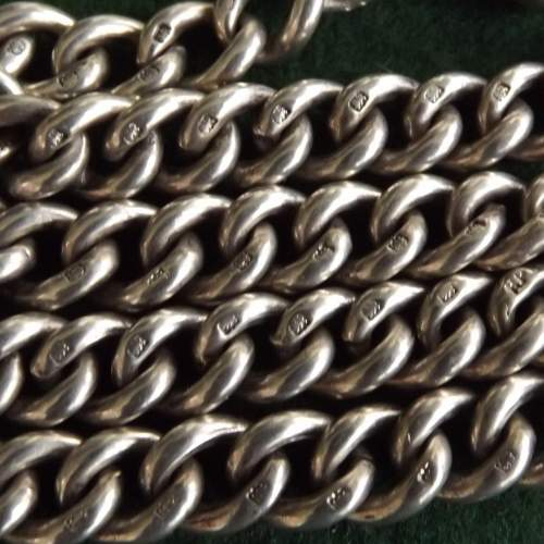 Antique George V 1915 Silver Double Albert Watch Chain image-3