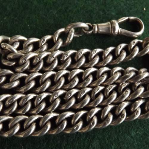 Antique George V 1915 Silver Double Albert Watch Chain image-4