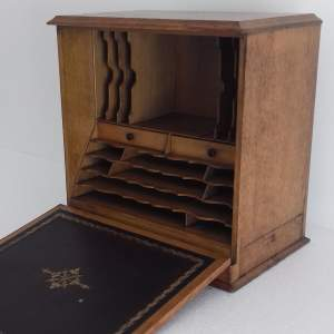 Edwardian Oak Desk Top Stationery Box Cabinet with Writing Slope