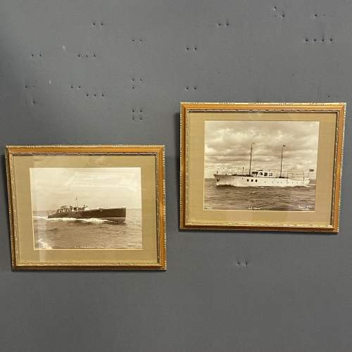 Pair of 1950s Framed Photographs of Motor Boats by Beken and Son image-1