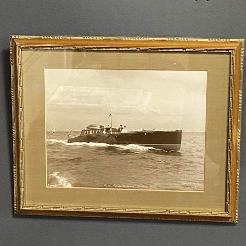 Pair of 1950s Framed Photographs of Motor Boats by Beken and Son image-2