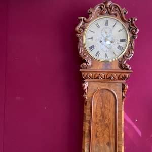 Mid 19th Century Flame Mahogany Domestic Regulator Longcase Clock