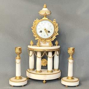 French White Marble and Ormolu Clock and Garniture