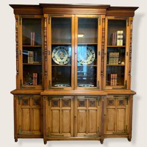 Arts and Crafts Walnut Breakfront Bookcase