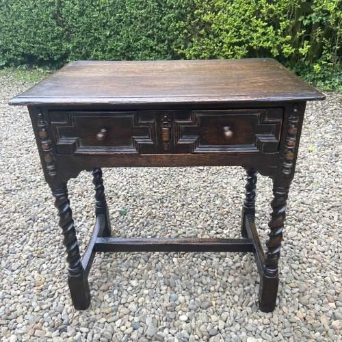 Quality Jacobean Style Oak Side Table image-1