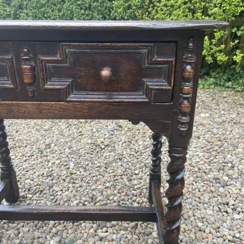 Quality Jacobean Style Oak Side Table image-5