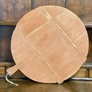 19th Century European Round Brown Painted Cheese or Bread Board