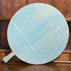 19th Century European Round Blue Painted Cheese or Bread Board
