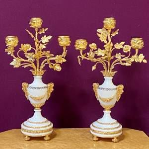 19th Century Pair of Alabaster Candlesticks
