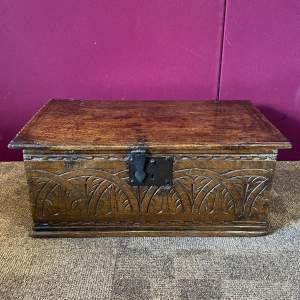Early 18th Century Oak Deed Box