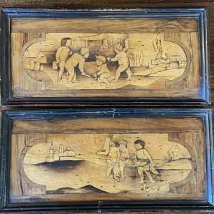 Rare Pair of 17th Century Italian Marquetry Panels