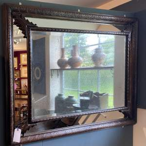 Large Foxed Victorian Bevelled Mirror Plate in Cushion Frame