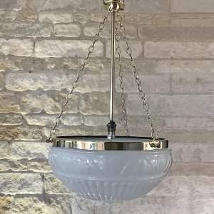 Edwardian Brass and Opalescent Glass Plafonnier Ceiling Light
