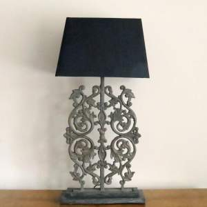 Large Decorative Architectural Cast Iron Lamp Base and Shade