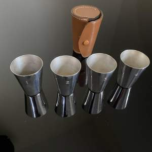 Set of 4 Numbered Silver Plated Stirrup Cups in Leather Case