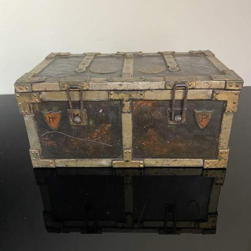 Huntley and Palmer Iron Chest Biscuit Tin Circa 1909 image-1