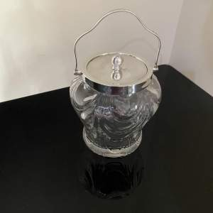 Crystal Biscuit Barrel with Silver Top and Handle - 1895 - 1824