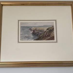 The Coast Line At Filey Watercolour by Victorian Artist G. Vawser
