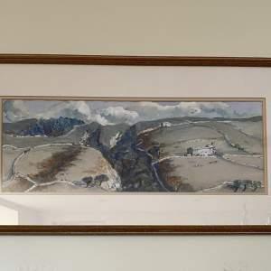 Coverdale - A Divided Landscape - Watercolour by Jill Douglas