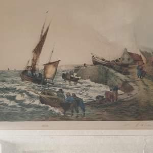 Windy Coastal Scene Engraving by E. H. Barlow