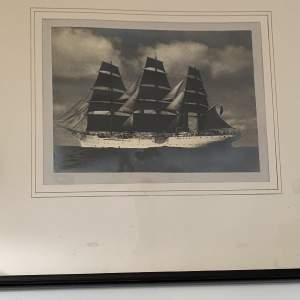 Large Framed Victorian Photograph of a Clipper Merchant Sailing Vessel