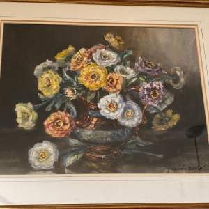 Still Life Watercolour Dalias by Marion Bloom