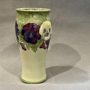 William Moorcroft Pansy on Celadon Vase