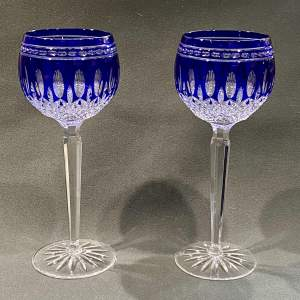 Pair of Waterford Clarendon Blue Hock Glasses