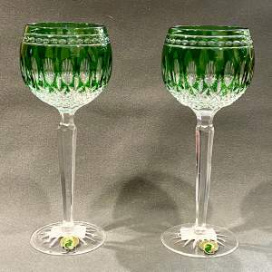 Pair of Waterford Crystal Clarendon Green Hock Glasses