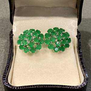 6 Carat Emerald and Sterling Silver Earrings