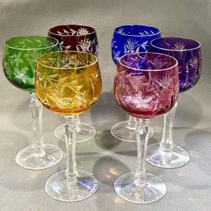 Set of Six Harlequin Glass Hock Glasses
