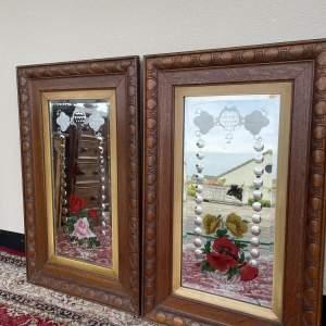 Pair of Decorative Oak Framed Wall Mirrors