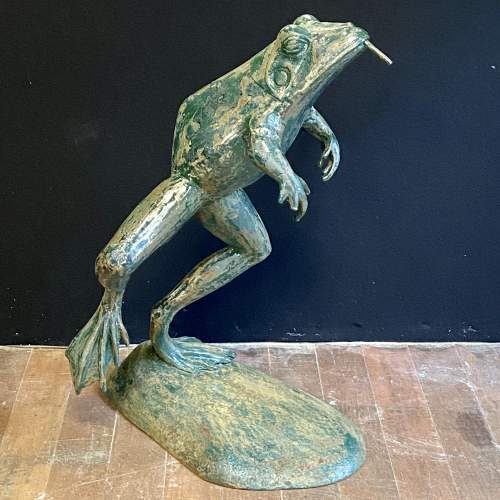 1930s Cast Iron Leaping Frog Statue or Fountain image-1