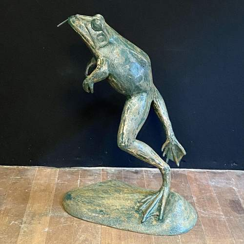 1930s Cast Iron Leaping Frog Statue or Fountain image-2